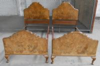 Pair Queen Anne Style Burr Walnut Single Beds